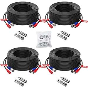 ZOSI 100ft Cable for CCTV Camera | 4-Pack | 4X BNC & RCA
