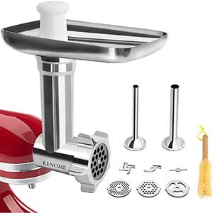 KENOME Meat Grinder Attachment for KitchenAid | 2 Tubes | Silver